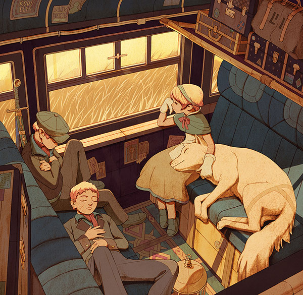 Kids Travelling in Train
