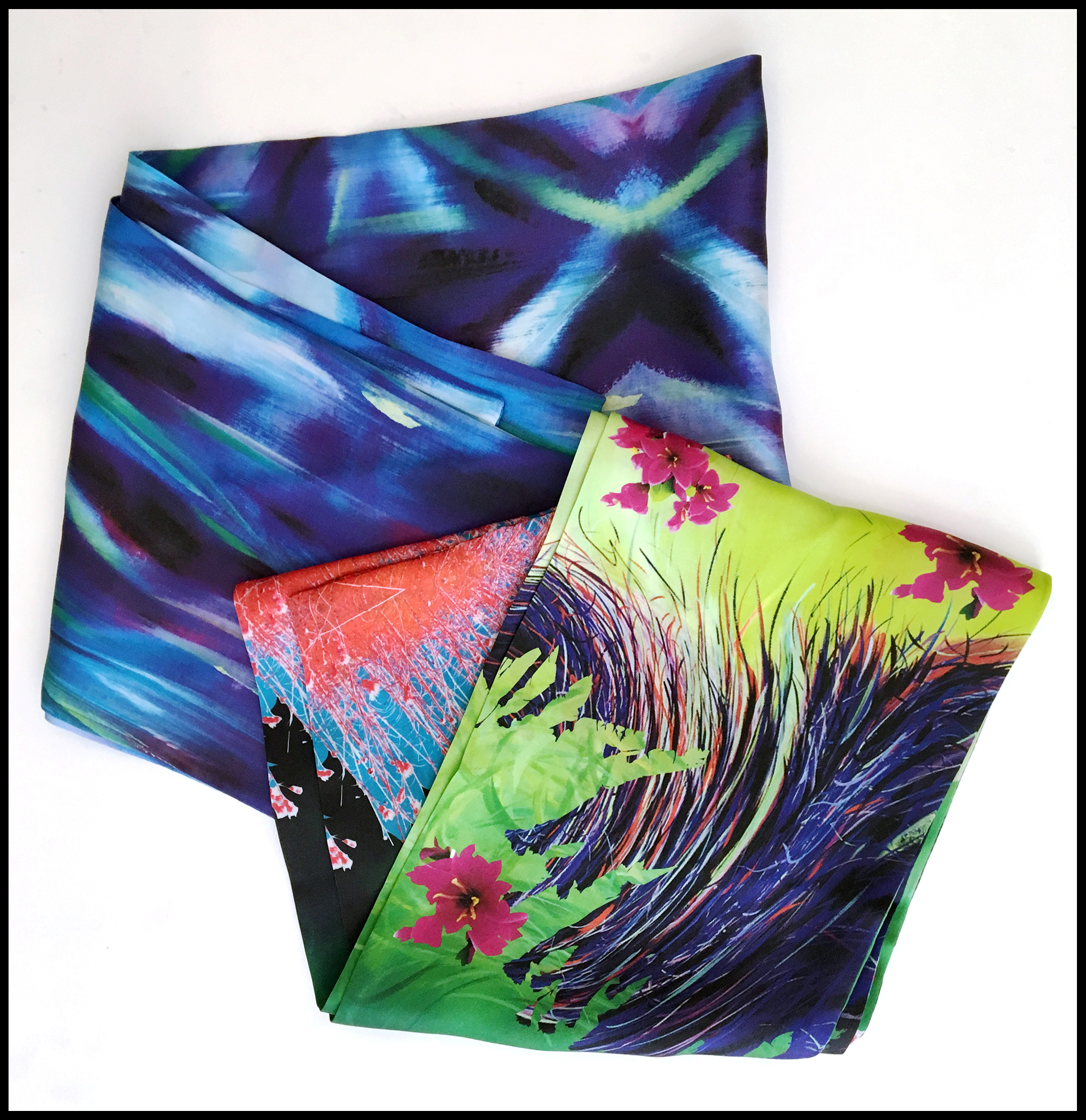 An image of silk scarves made by Ketta Ioannidou.