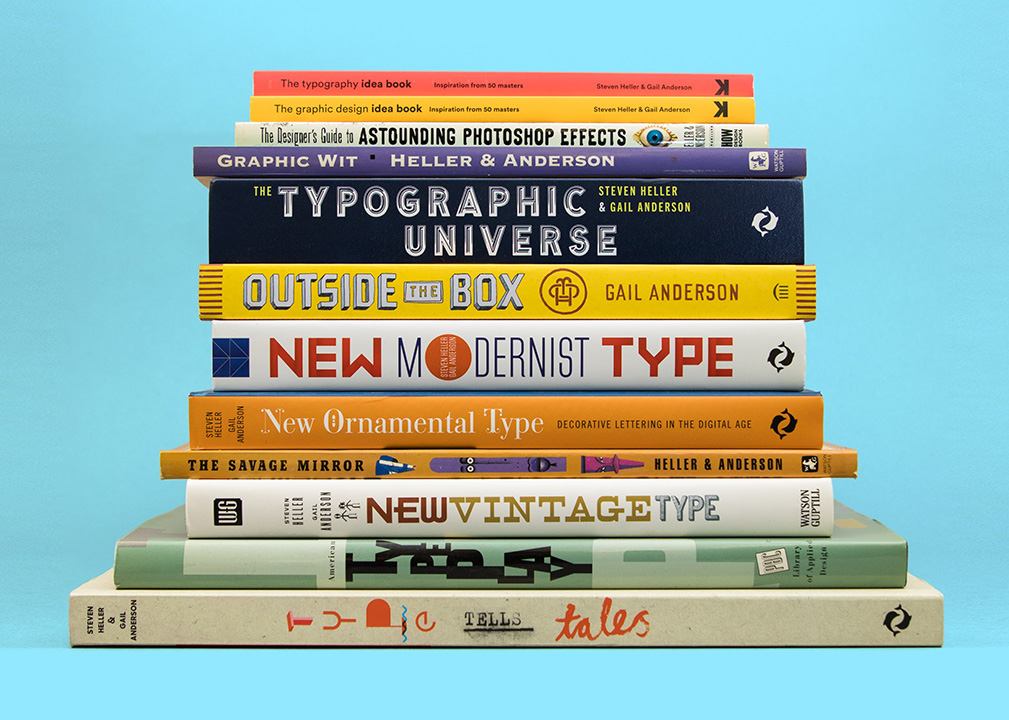 Stack of books on graphics and type.