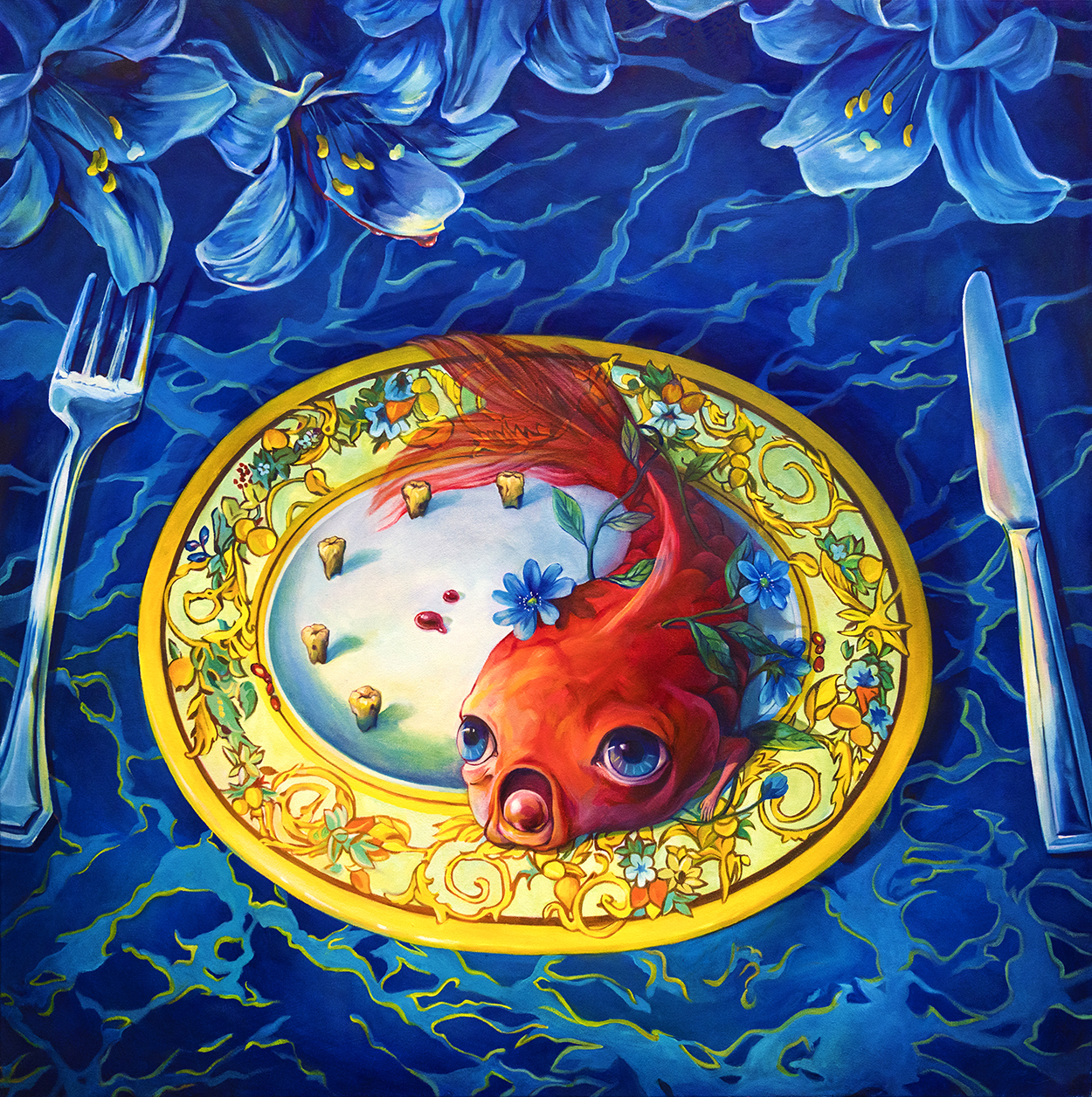 A dinner table with a plate of a koi fish served on a platter.