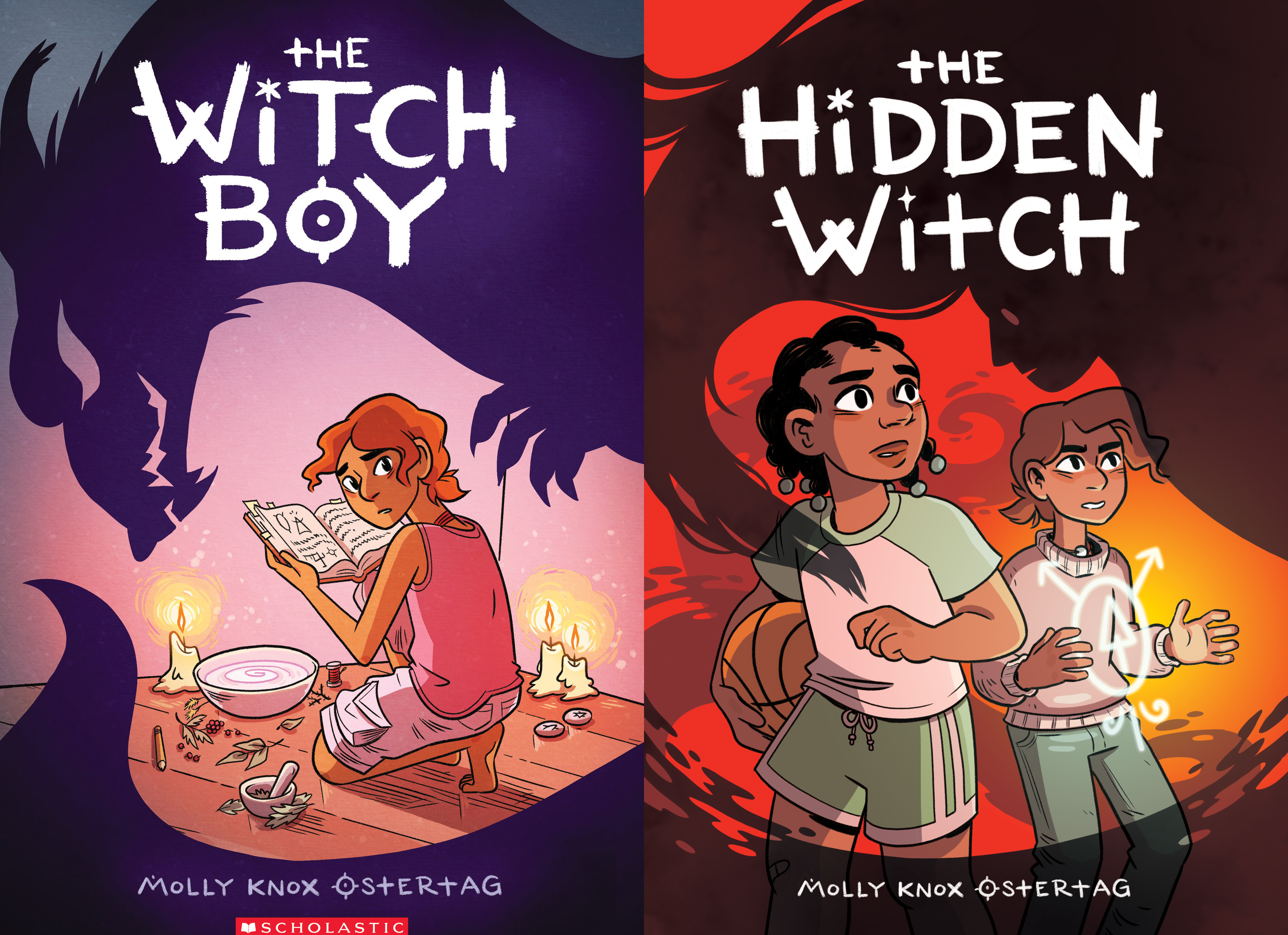 """Image stills of the first and second book in Molly Ostertag's series, <em>The Witch Boy</em> (left) and <em>The Hidden Witch</em> (right), courtesy of Scholastic.<span class=""""redactor-invisible-space""""></span>"""