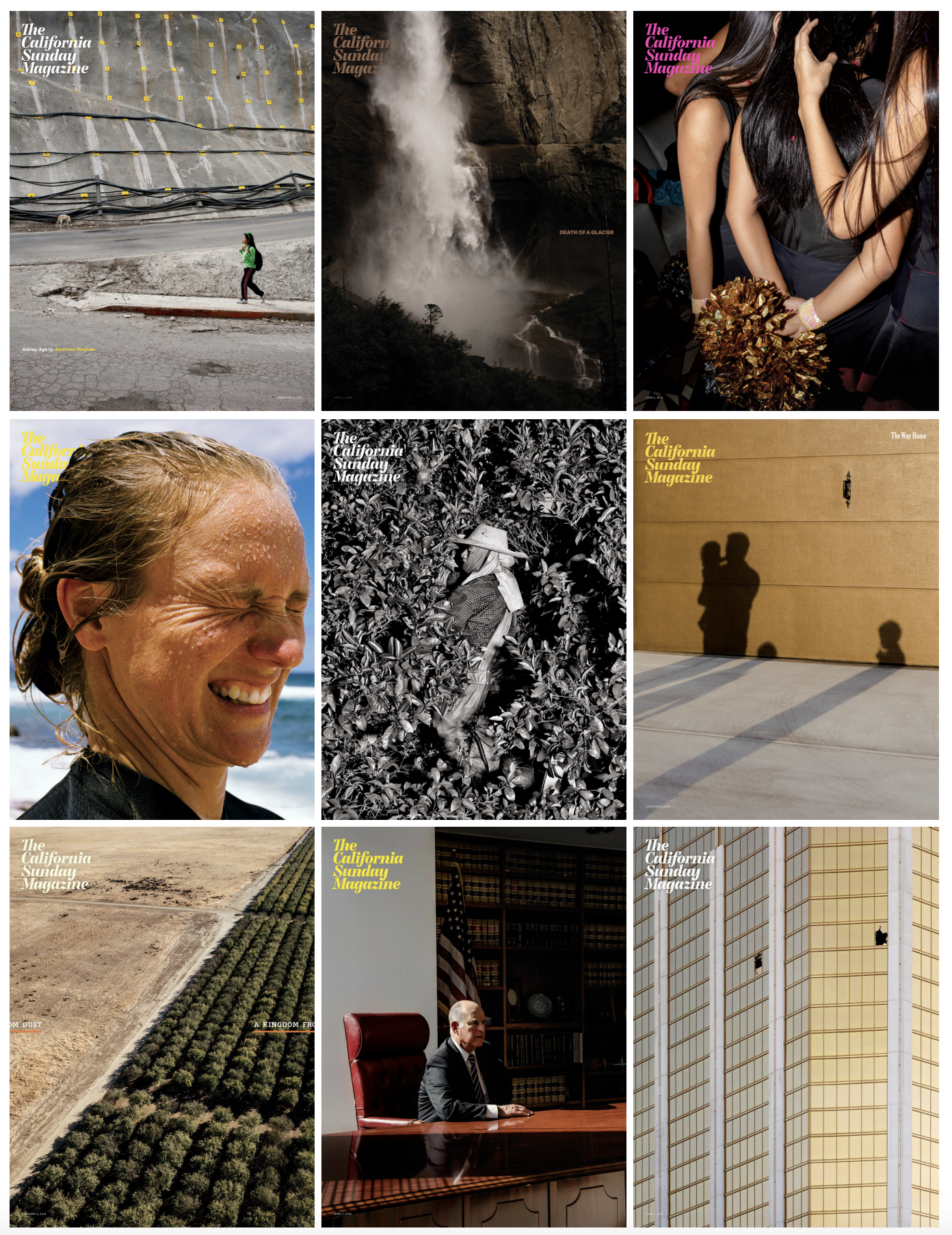"<p ""="""">A grid layout of nine magazine covers, each featuring a full-page photograph and minimal text."