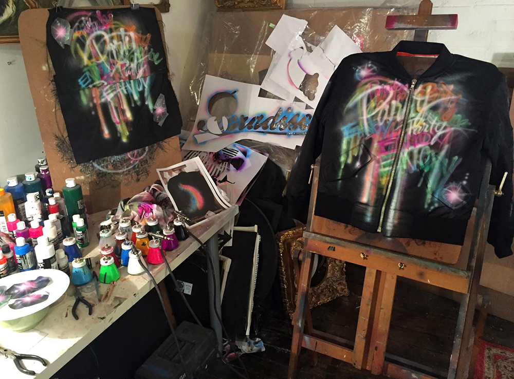 Airbrush shirt designing studio.
