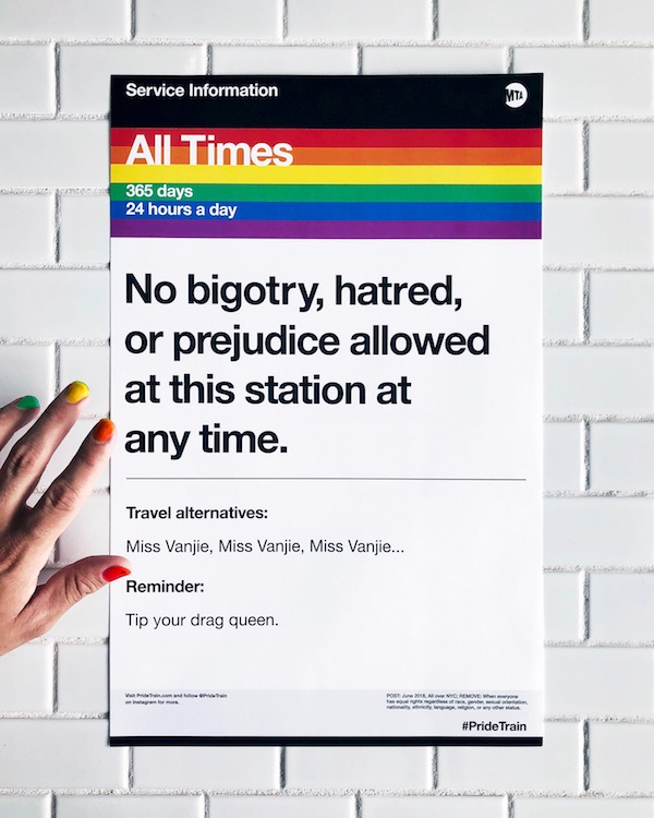 """""""No bigotry, hatred or prejudice allowed at this station at any time."""" A photo of a Pride Train poster."""