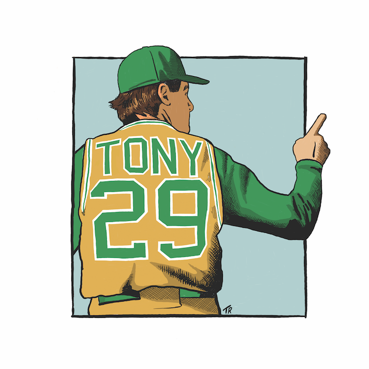 A  graphic of baseball player Anthony La Russa by Todd Radom.