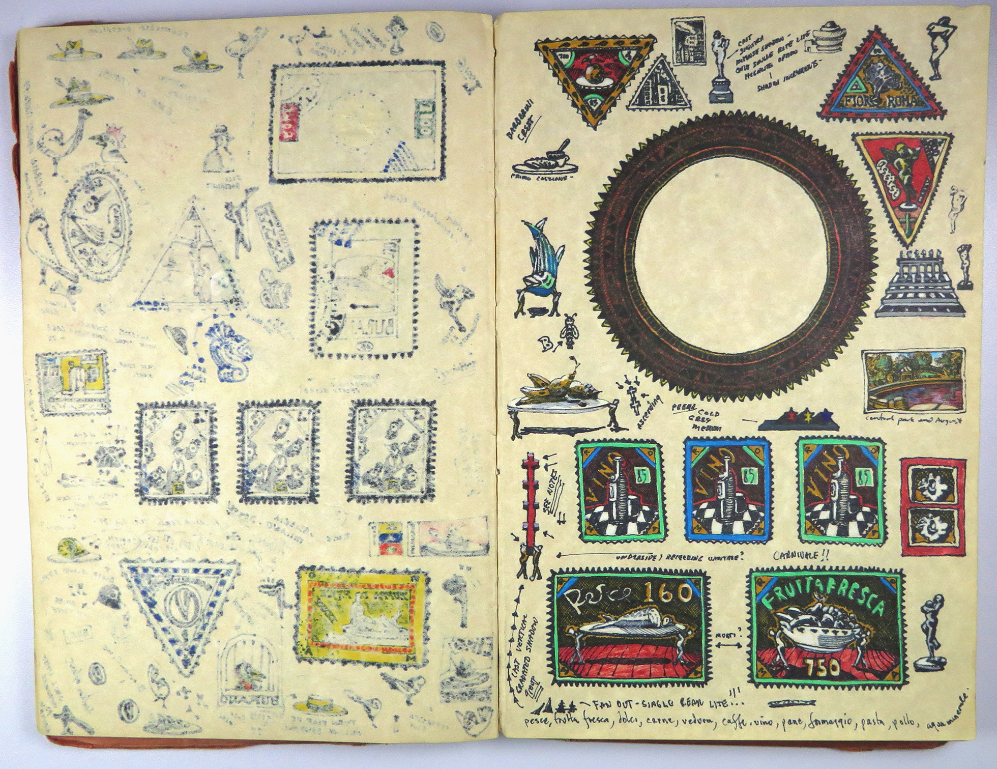 a notebook with old stamps and symbols