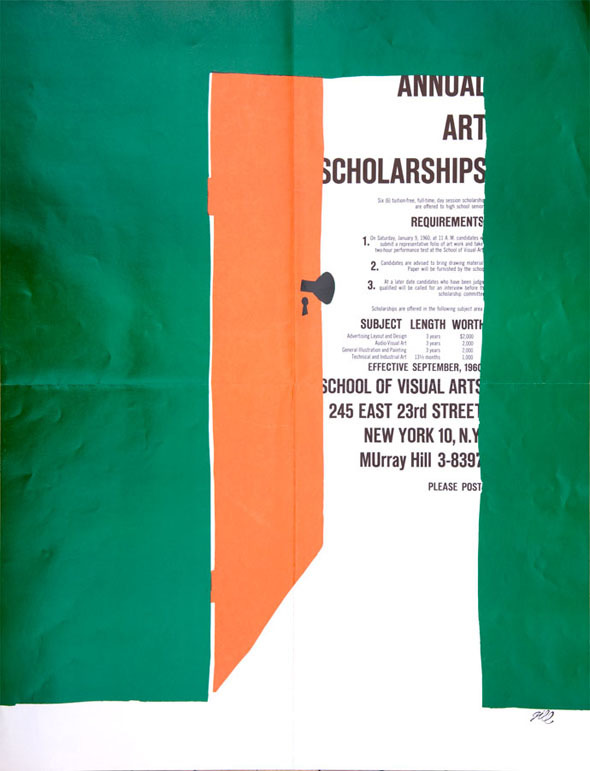 A poster of a green wall with an open orange door, through the door you see text about SVA's annual art scholarships.