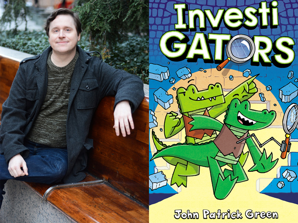 """<p """"="""""""">A color photograph of a man sitting on a park bench, and the illustrated cover of a book, featuring cartoon alligators wearing vests."""