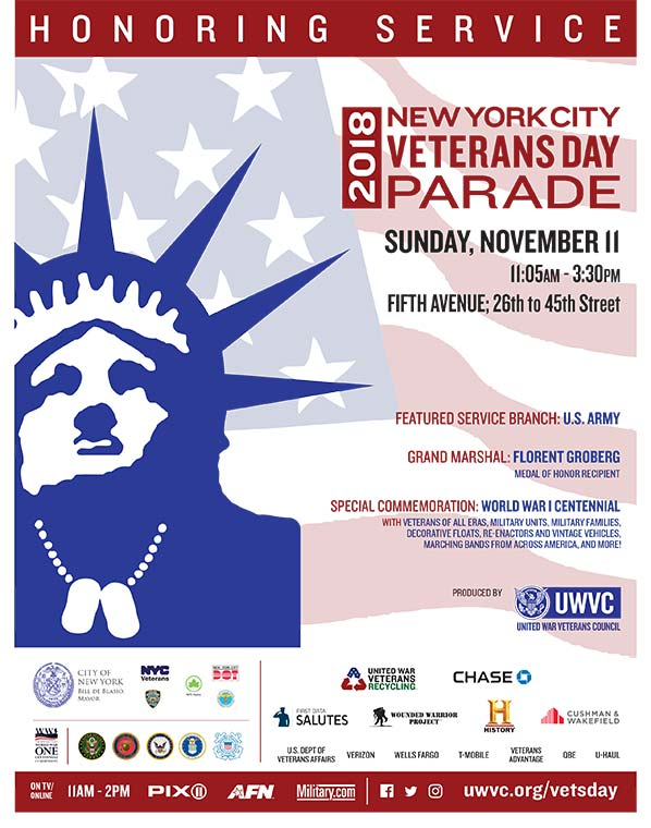 The 2018 New York City Veterans Day Parade poster.