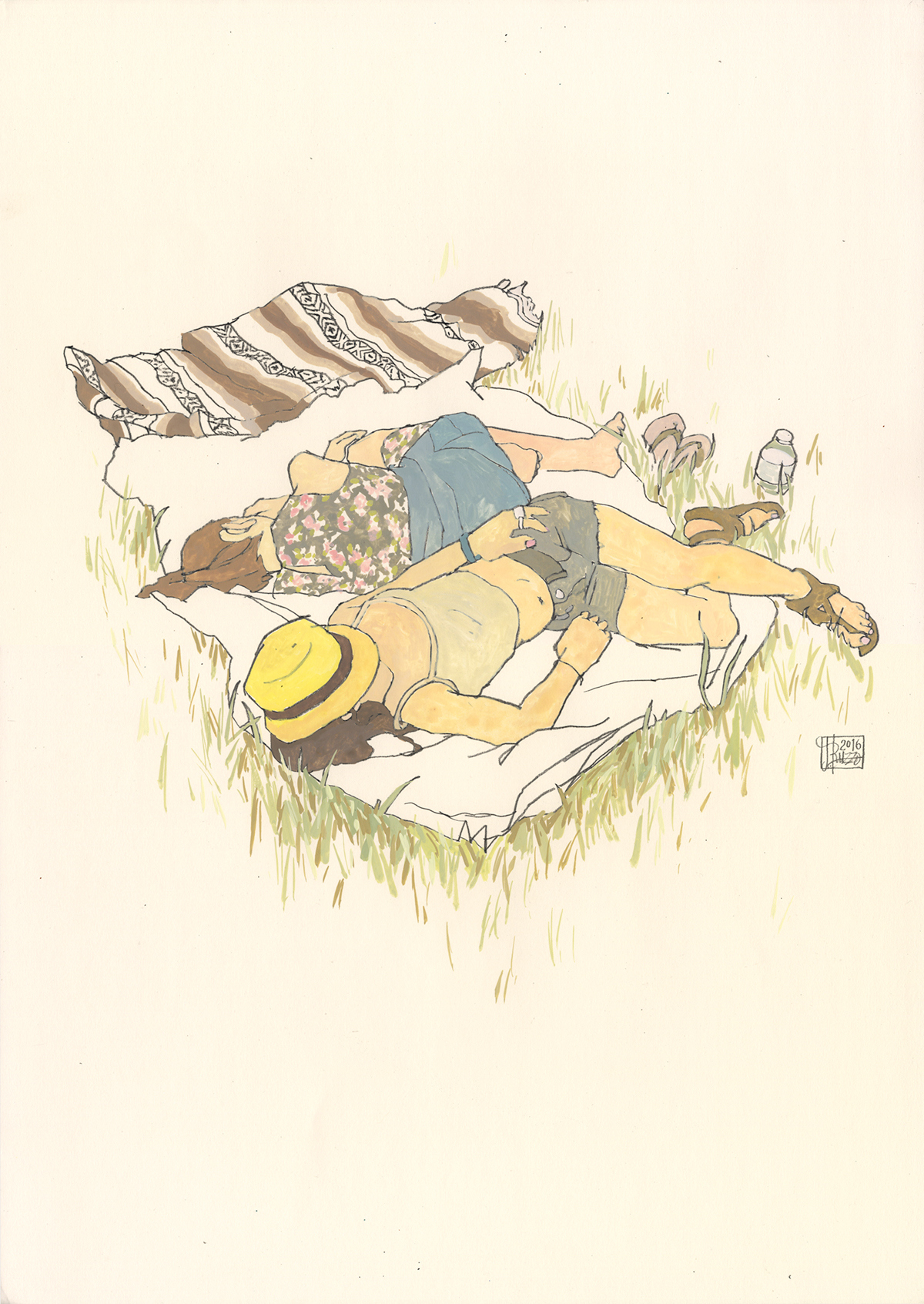 A color illustration of two figures lying in rest on a blanket in the grass.