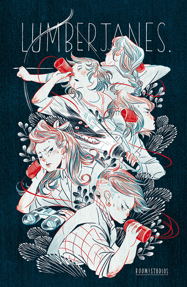 """5 children are playing with phones made out of tin cans and string. """"Lumberjanes"""" can be read at the top"""