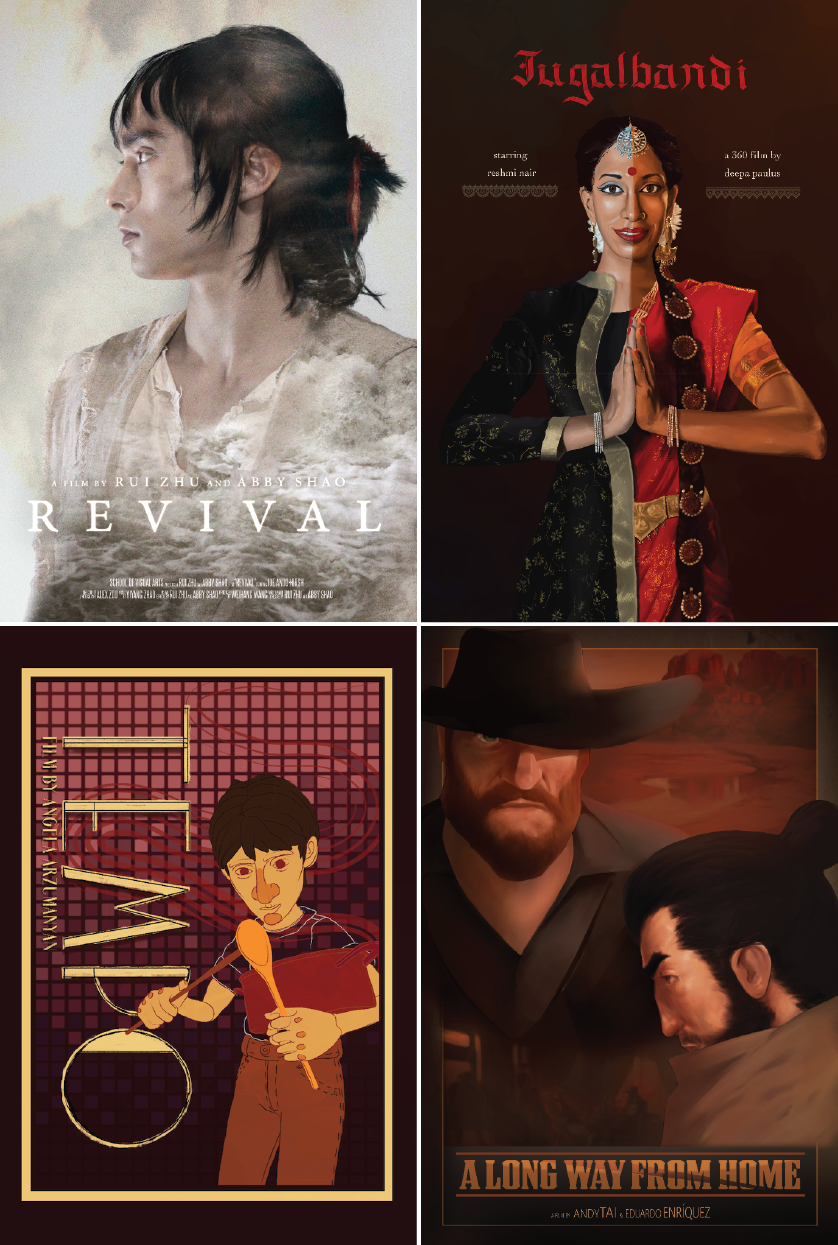 A series of posters that promotes movies