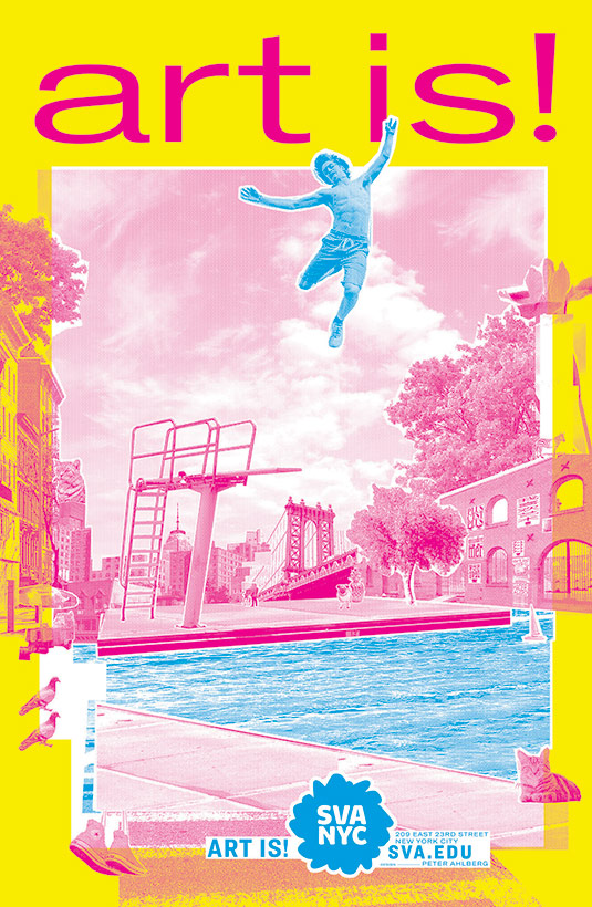 A silk-screen, Day-Glo poster showing a swimmer in the moment he's jumped high off the diving board, suspended in midair.