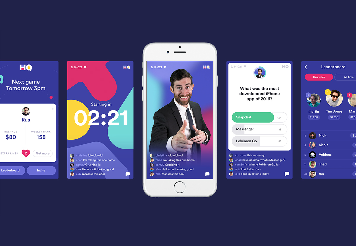 Various screenshots from the HQ Trivia app.