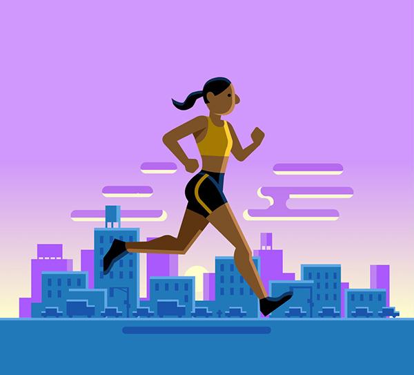 Girl runs by city