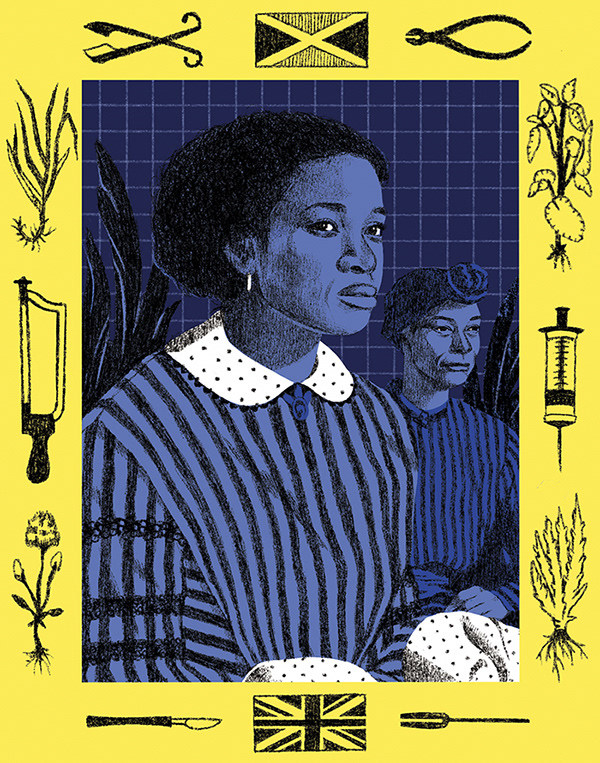 """<p """"="""""""">An illustration of two women surrounded by a yellow border depicting plants, flags and old medical tools."""