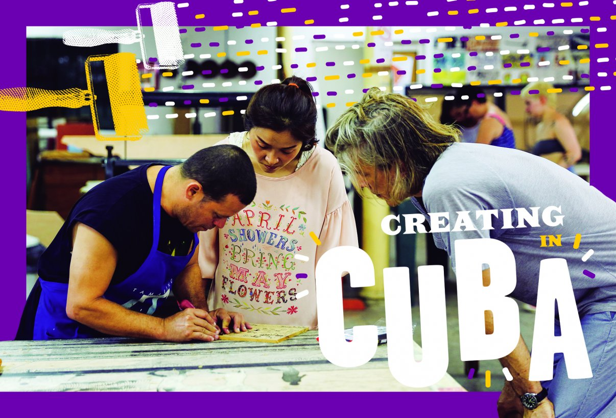 A postcard image of the printmaking trip in Cuba, showing artists at work in the printmaking studio.