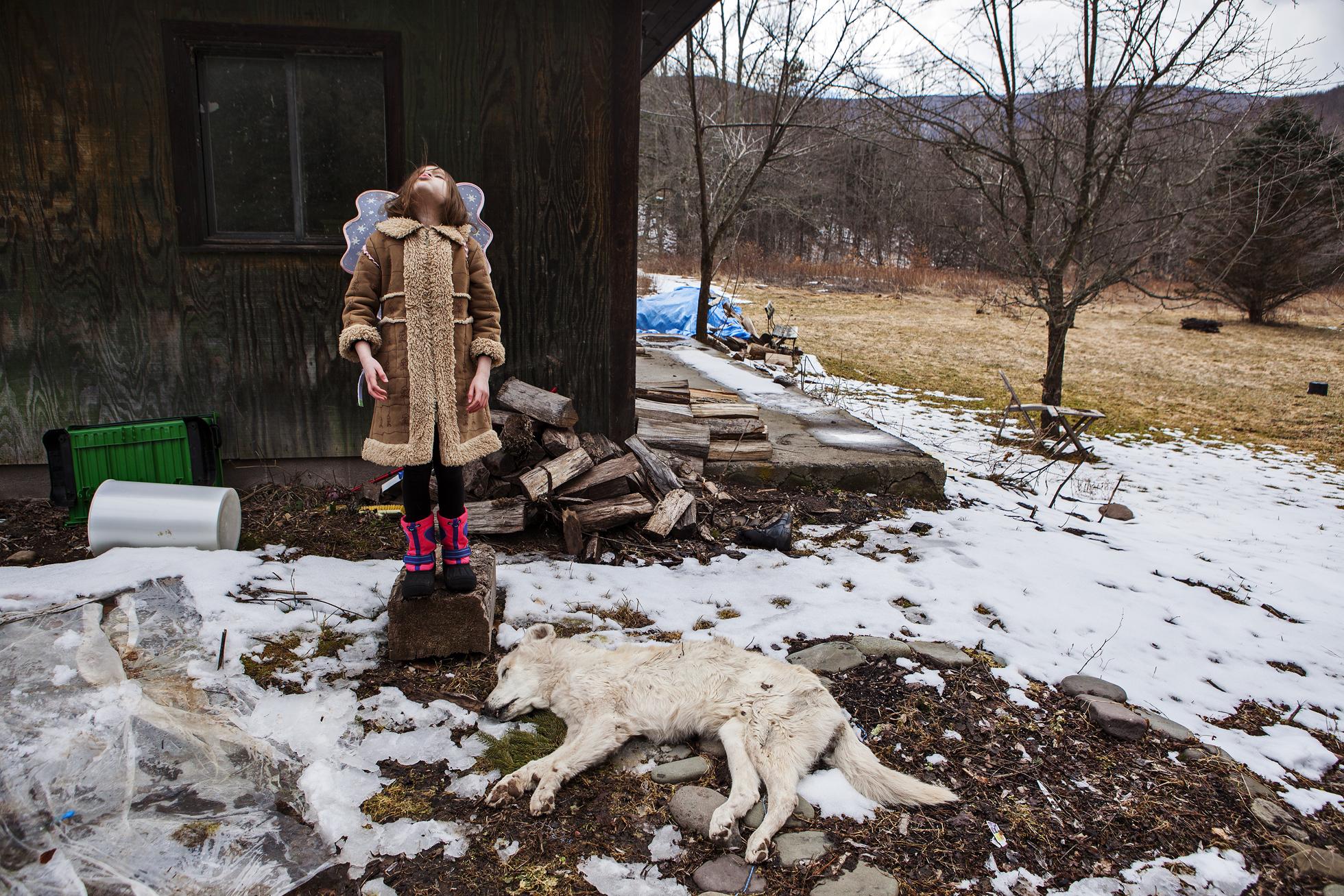 Dog girl snow