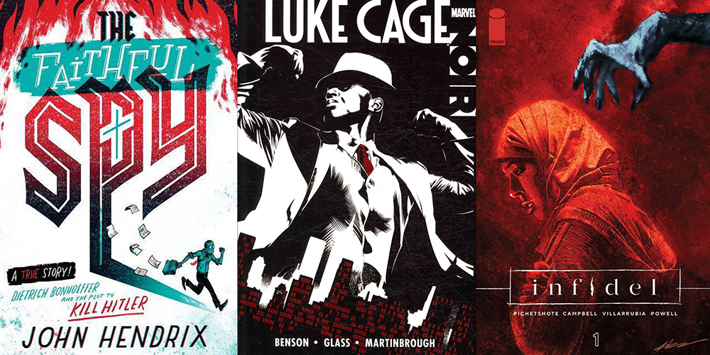 """From left: The cover of John Hendrix's <em>The Faithful Spy</em>, <em>Luke Cage Noir</em> illustrated by Shawn Martinbrough, and the cover of Aaron Campbell's <em>Infidel</em><span class=""""redactor-invisible-space""""><em></em></span>"""