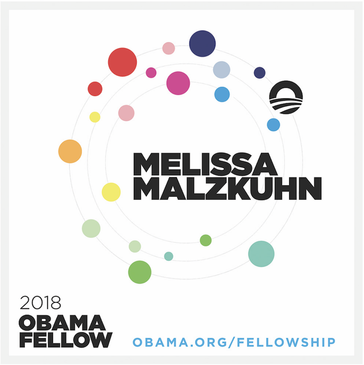 """<p """"="""""""">An Obama Foundation graphic announcing Melissa Malzkuhn as one of its 2018 Obama Fellows."""