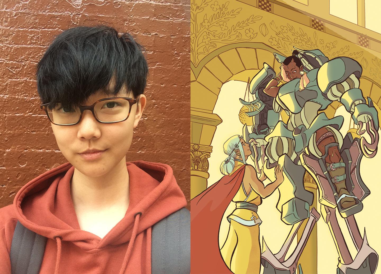"Cartoonist Kou Chen <span class=""redactor-invisible-space"">and an exclusive postcard for <em>Beyond, </em>a queer sci-fi and fantasy comic anthology. Via <a href=""http://koukounut.com"">http://koukounut.com</a></span>"