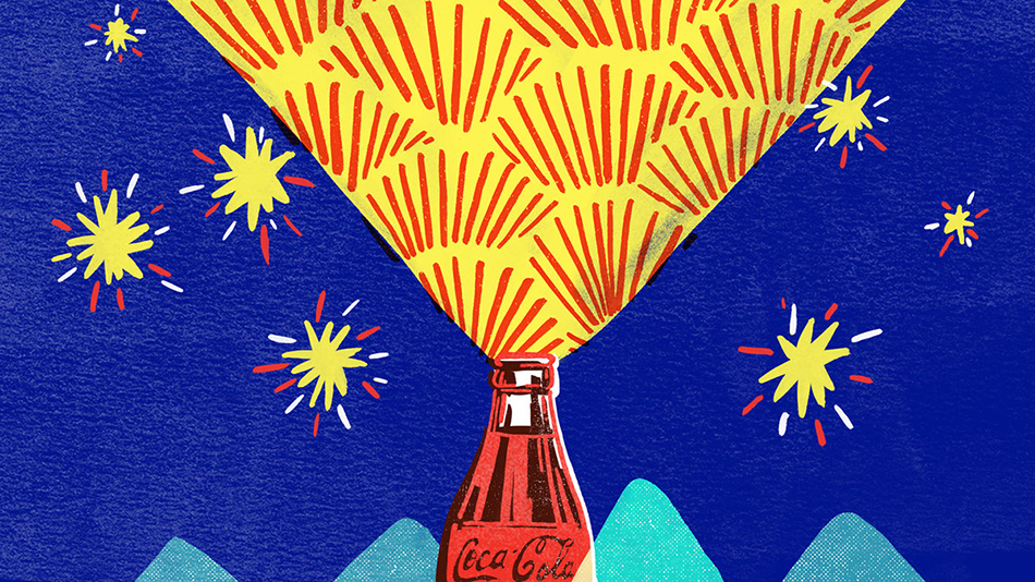 """<p """"="""""""">A screenprint-style color illustration for a Coca Cola advertisement, featuring a Coke bottle, mountains in the distance and either fireworks or stars in a blue sky."""