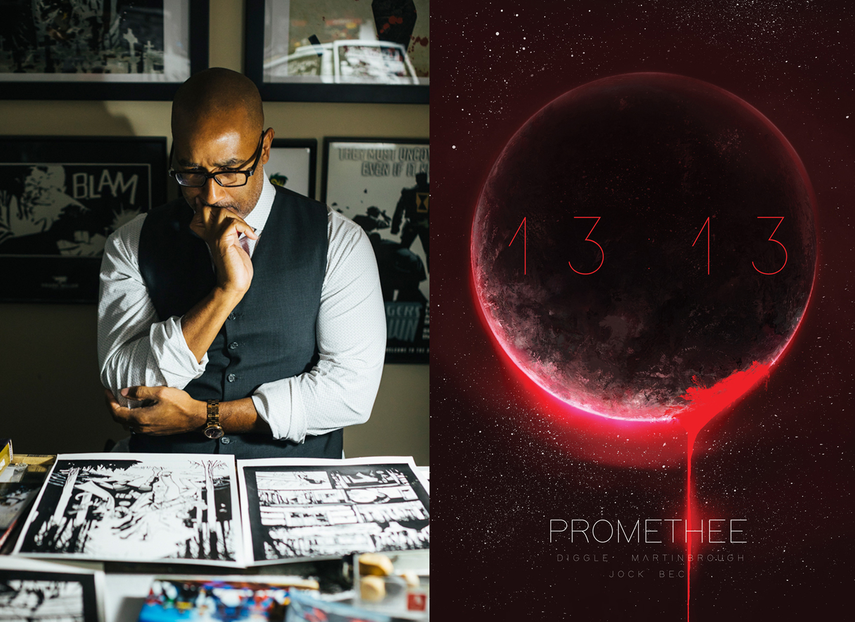 """<p """"="""""""">A photograph of Shawn Martinbrough looking over comic-book artwork and the cover of <em>Prométhée 13:13</em>, which features a red-backlit celestial sphere."""