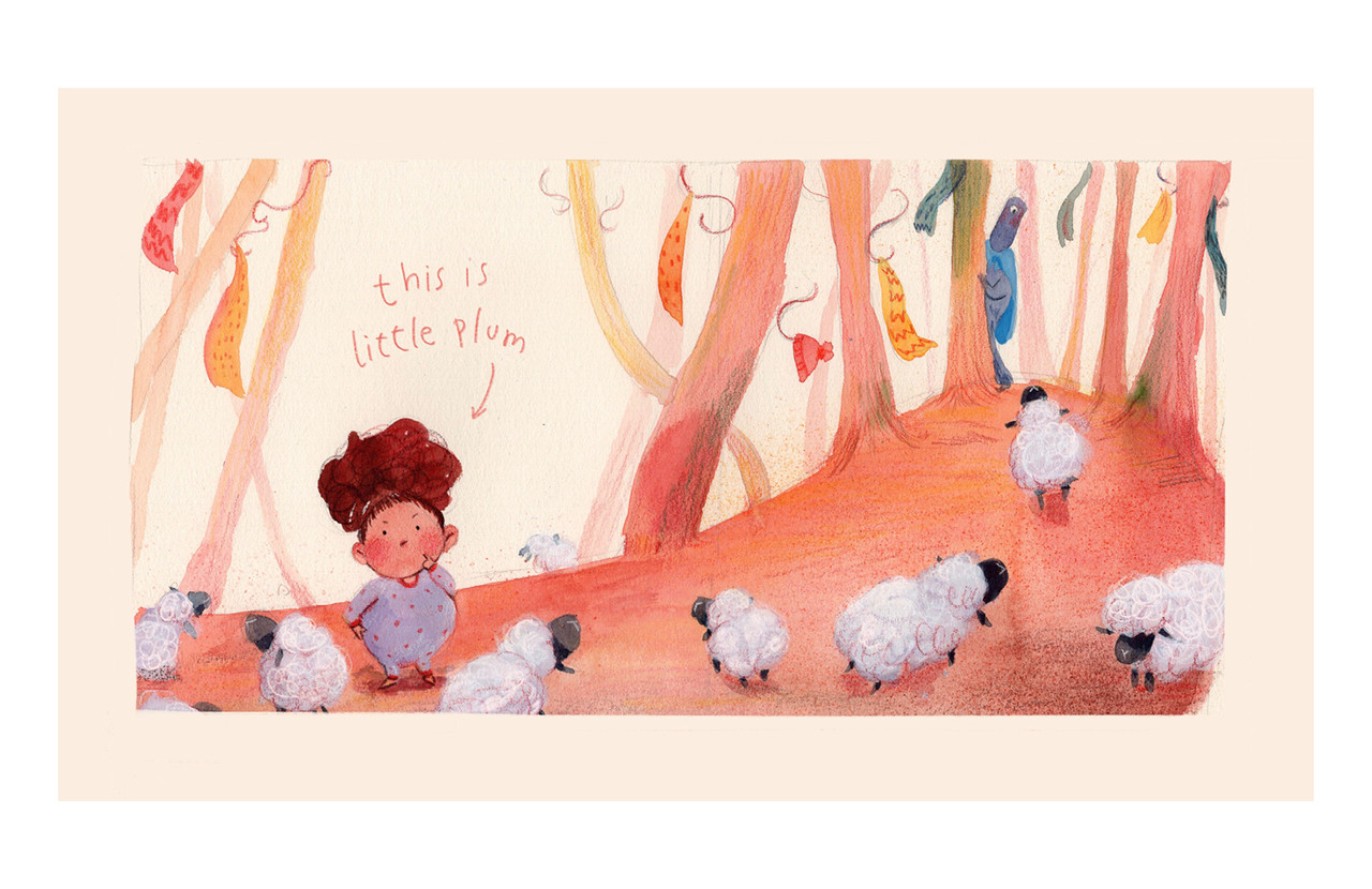 """<p """"="""""""">A color illustration of a girl standing in a fantastical woods and surrounded by lambs."""