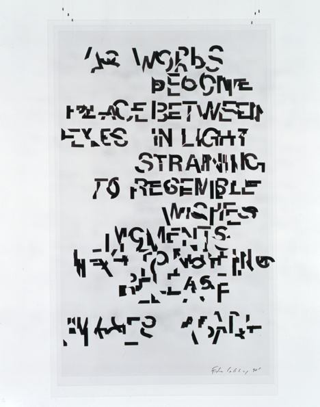 """<p """"="""""""">A black-and-white, text-based work with the letters broken into fragments."""