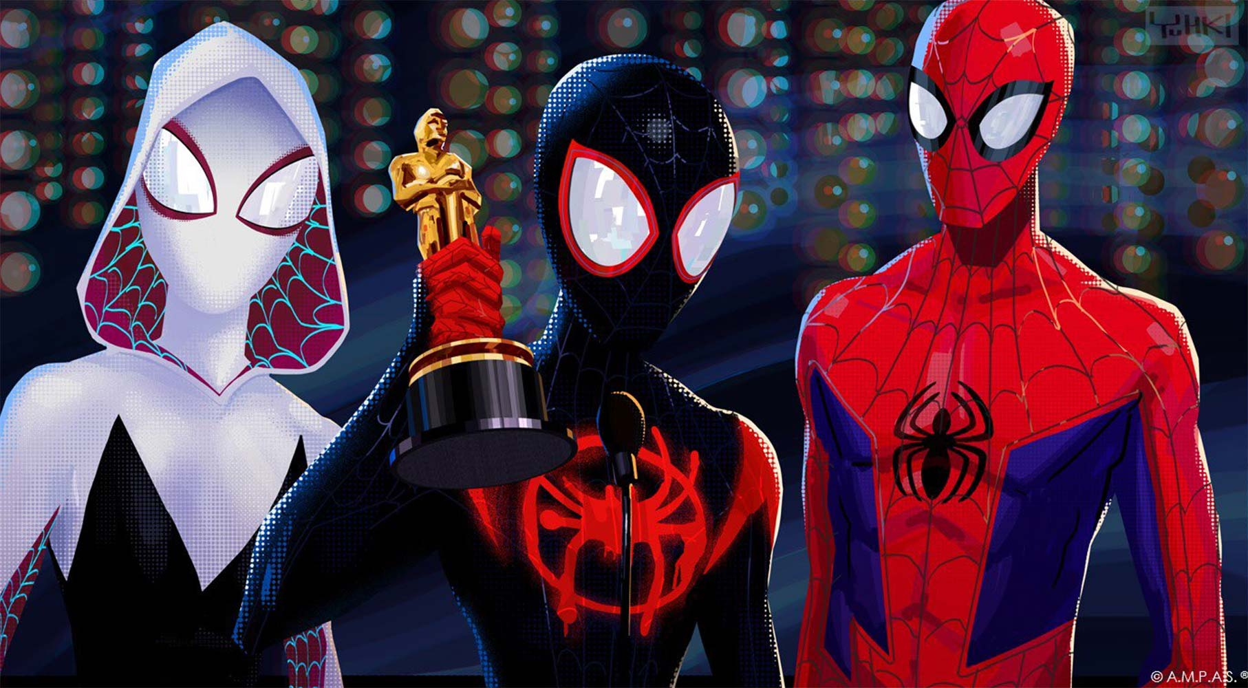 """<p """"="""""""">An image of <em>Spider-Man: Into The Spider-Verse </em>which won the Oscar for Animated Feature Film. Photo courtesy of Sony Pictures and ©A.M.P.A.S."""