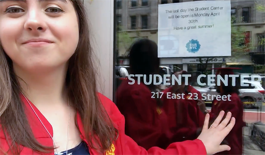 """<p """"="""""""">A photo of Chloe Giroux (BFA 2018 Illustration) as she stops by the SVA Student Center to say her last goodbyes."""