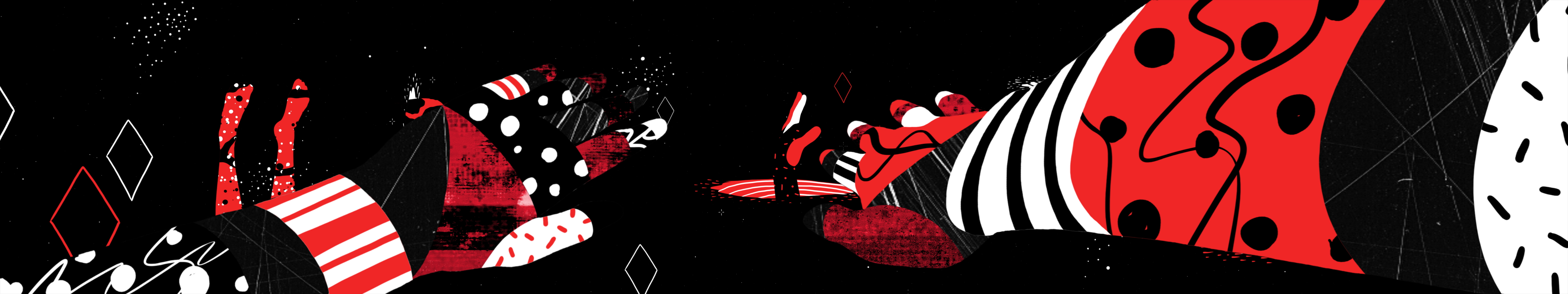 A red, black and white animated hand reaches out.