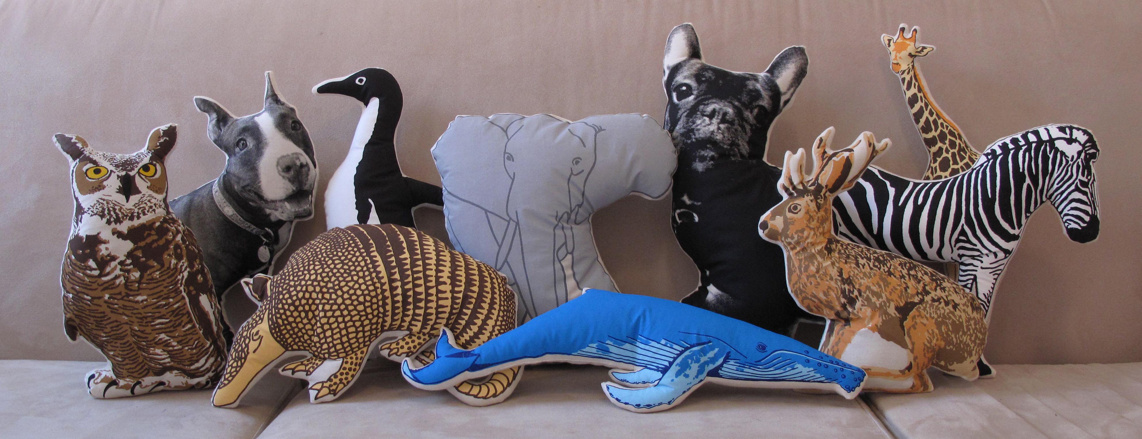 Group of fake zoo animals