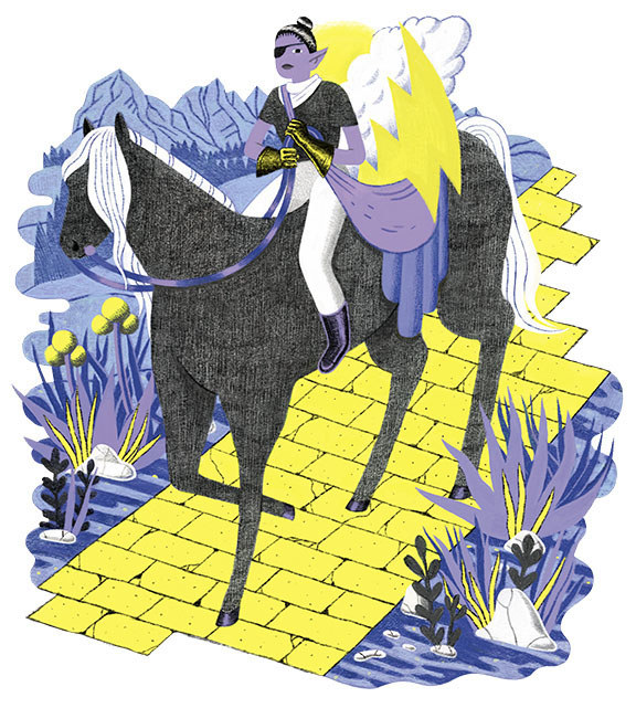 A horse on a yellow brick road. A woman riding on a horse.