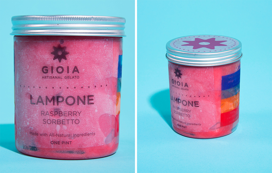 """Two images of the casing design for Gioia Artisanal Gelato by Elena Woznick.<span class=""""redactor-invisible-space""""></span>"""
