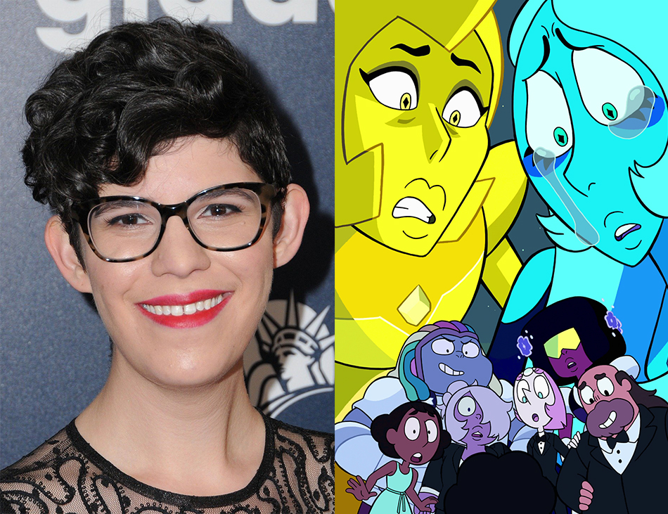 """Left: A photograph of Rebecca Sugar. Right: A promotional image for Steven Universe's """"Reunited"""" (2018)."""