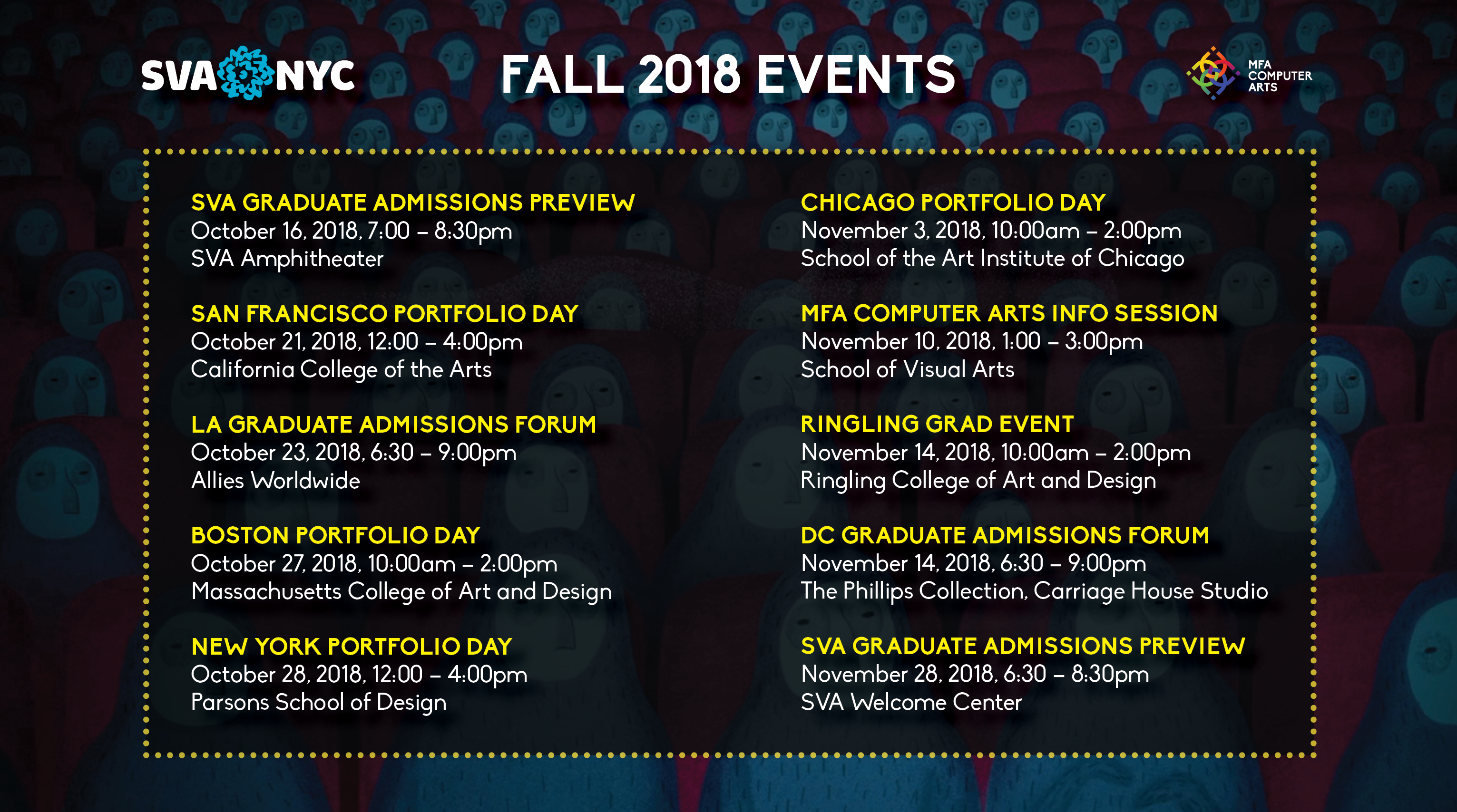 A poster with text which includes all the dates of the Fall recruitment season.