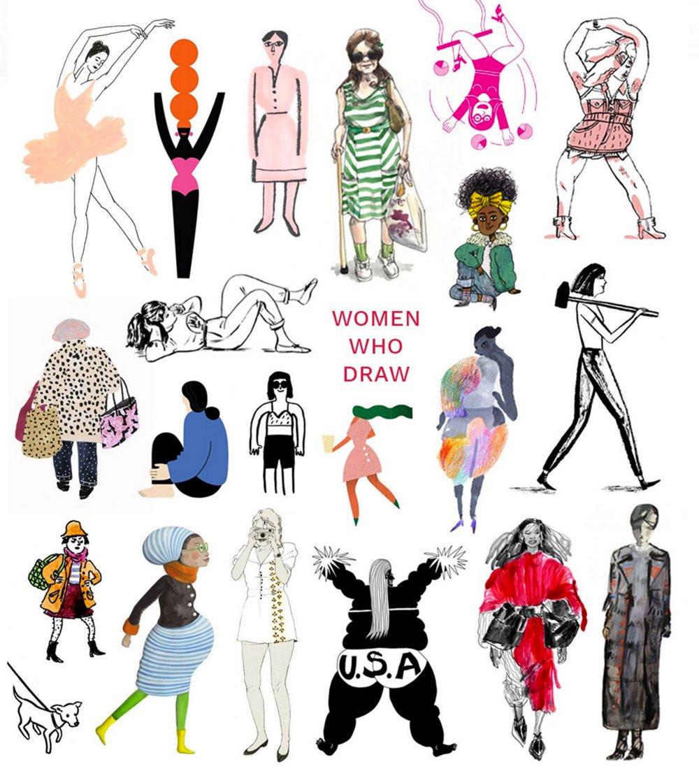 Women drawn in differnt styles.