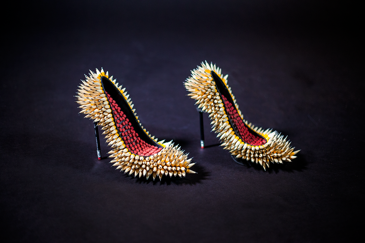 "Stilettos made out of pencils and erasers for the ""Obsessorize"" exhibition. Photograph by Andrew Werner."