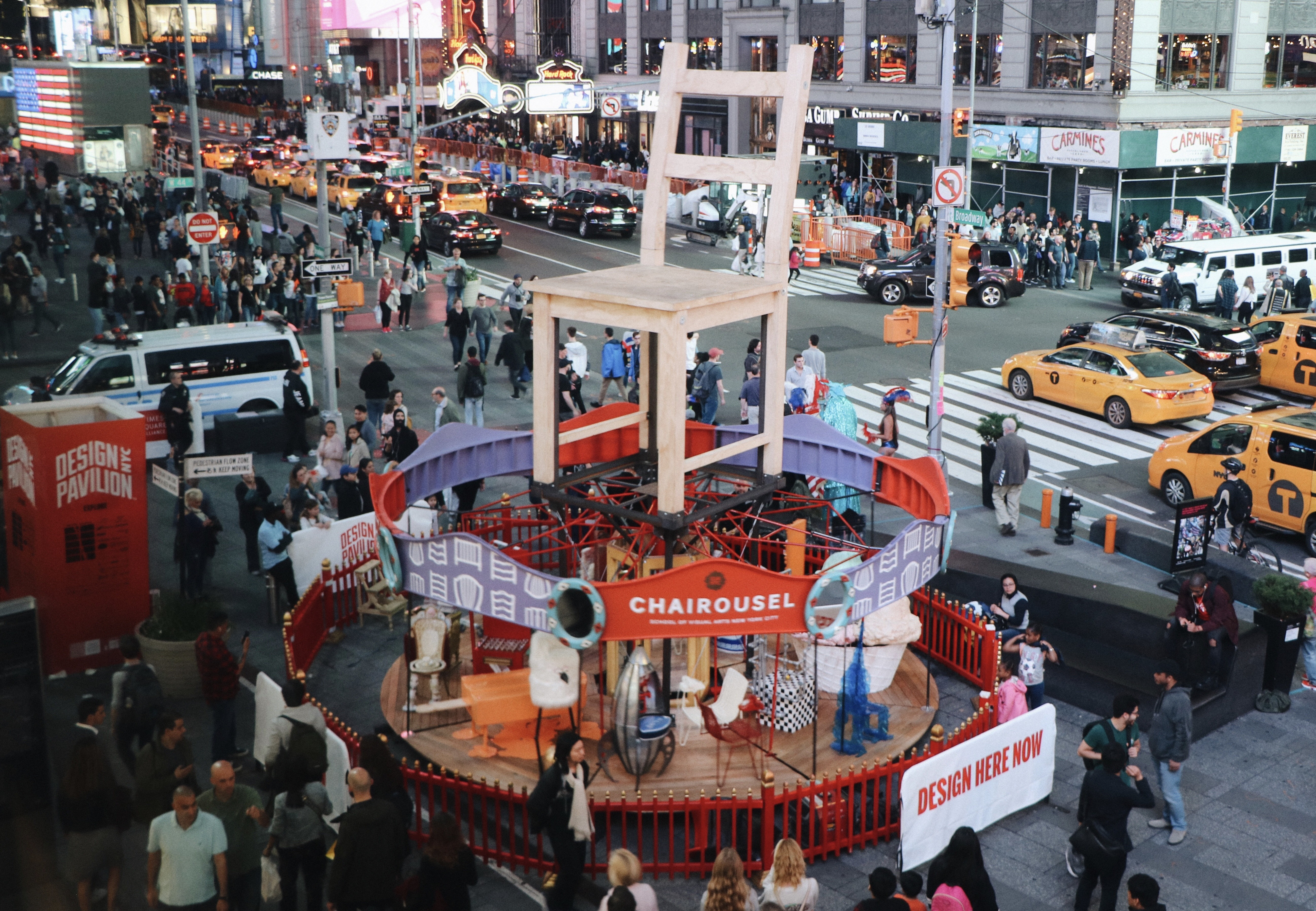 "An image of the new public exhibition of 3D art by students from SVA's BFA Design and BFA Interior Design programs<span class=""redactor-invisible-space"">. ""Chairousel""<span class=""redactor-invisible-space""> is currently up in New York City's Times Square, by Erin Davis.<span class=""redactor-invisible-space""></span></span></span>"