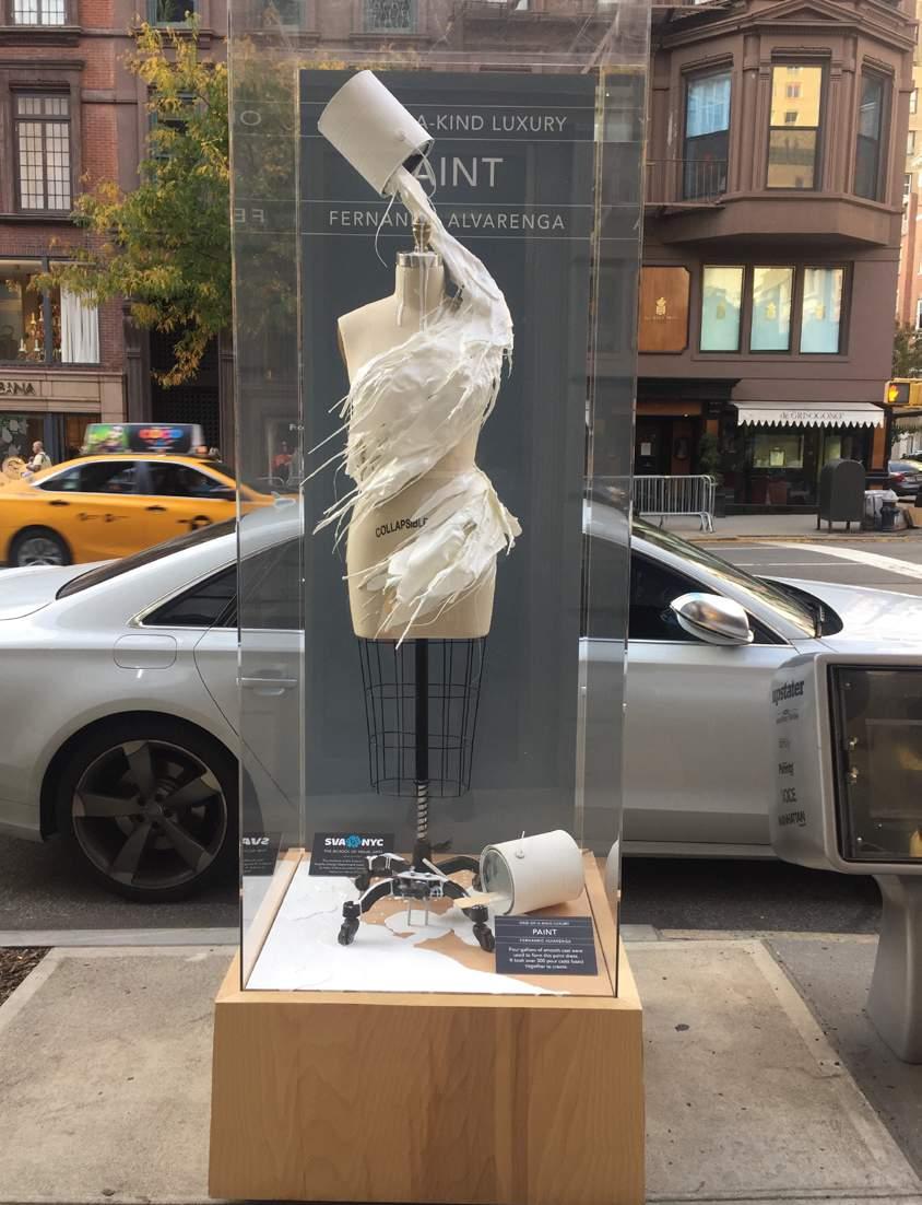 A piece of art on the sidewalk