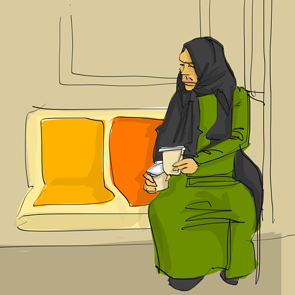 """<p """"="""""""">A color sketch of a woman in a green dress and black hijab, sitting on a bench seat of a subway car, holding what looks like two takeout cups of coffee."""