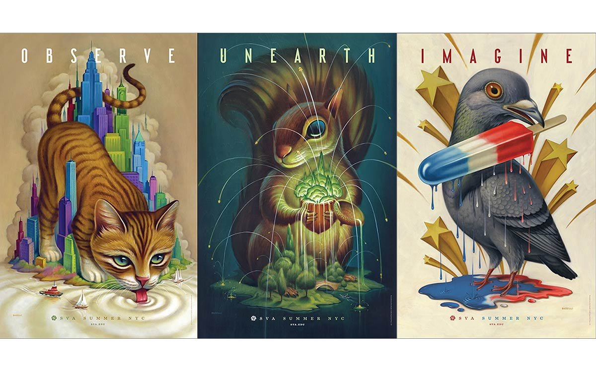 """Chris Buzelli's three SVA Subway Series posters, featuring a larger-than-life cat, squirrel and pigeon, with text overlay saying """"Observe,"""" """"Unearth,"""" and """"Imagine."""""""