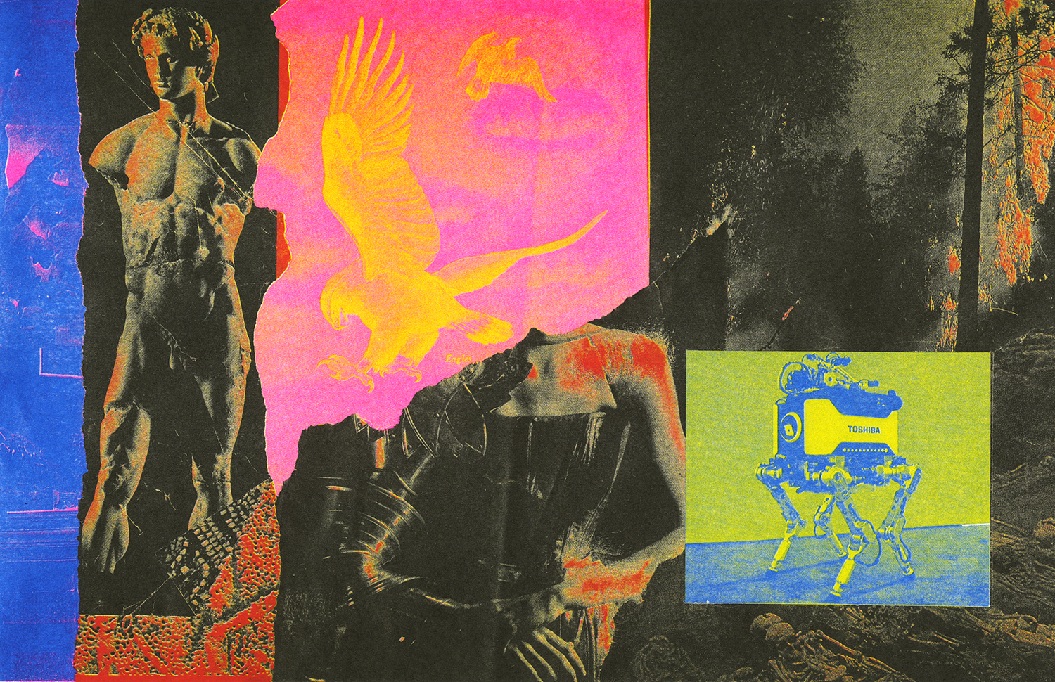 "<p ""="""">Here is a colorful Risograph print by Pan Terzis, featuring classical, technological, and imaginary creatures."