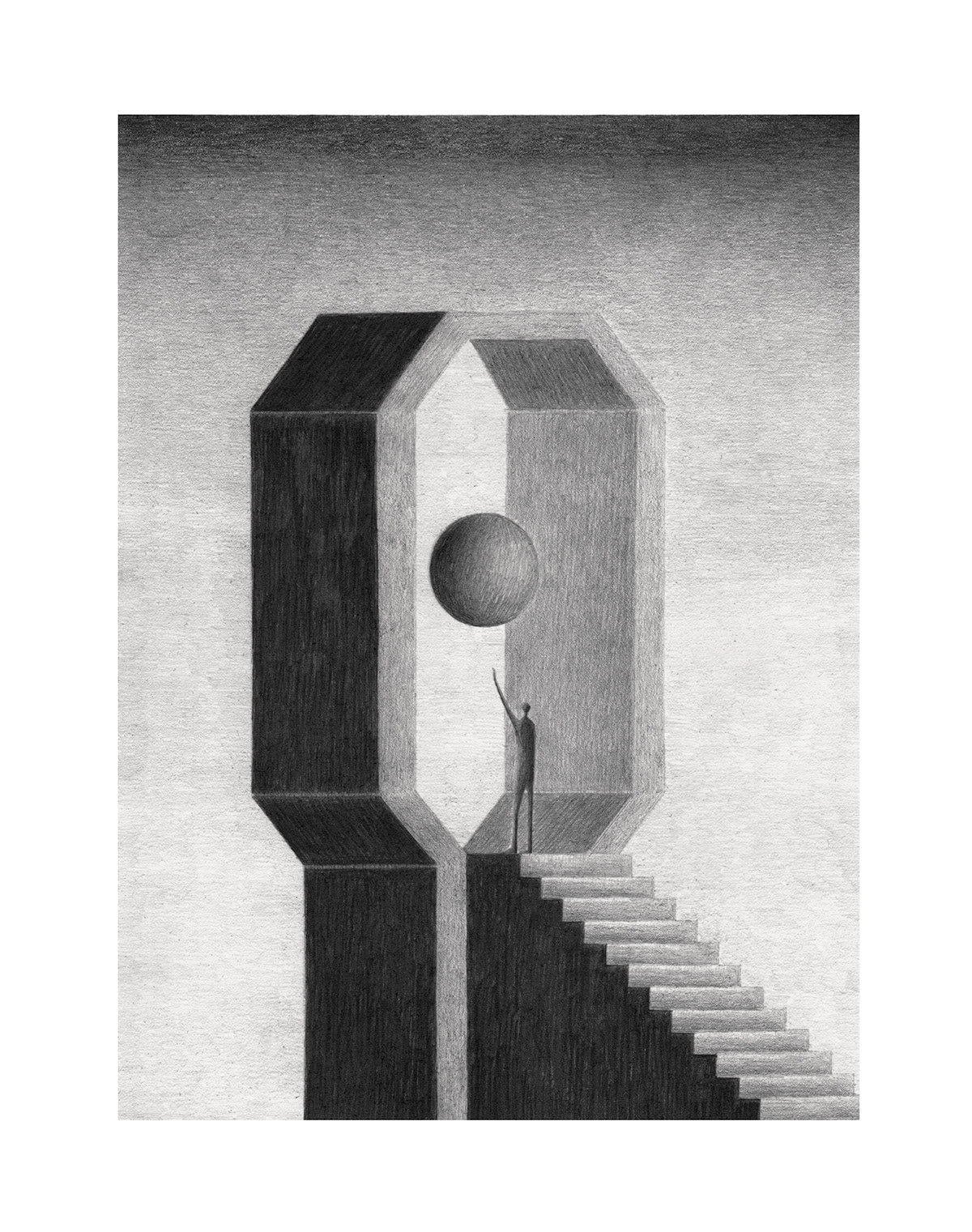 """<p """"="""""""">A black-and-white illustration of a figure standing at the top of a set of stairs and raising his arm toward a floating sphere."""