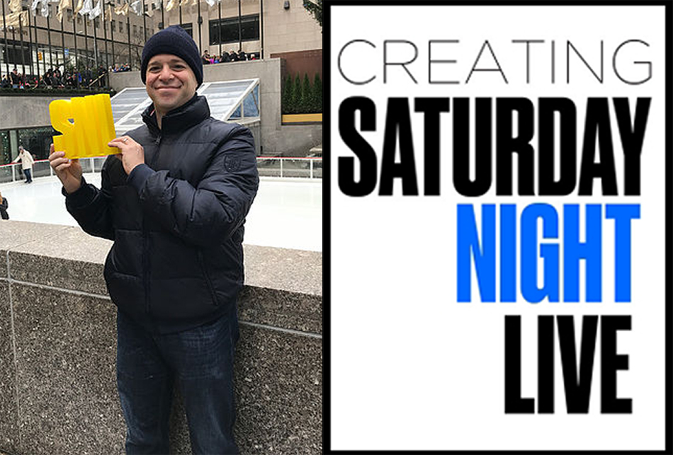 """<p """"="""""""">Left: A photograph of Matt Yonks. Right: The poster for """"Creating Saturday Night Live."""""""
