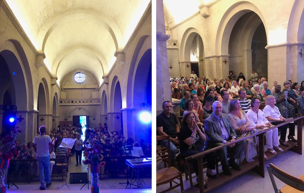 Two photographs of a concert taking place in the Chapel by Francis Di Tommaso.