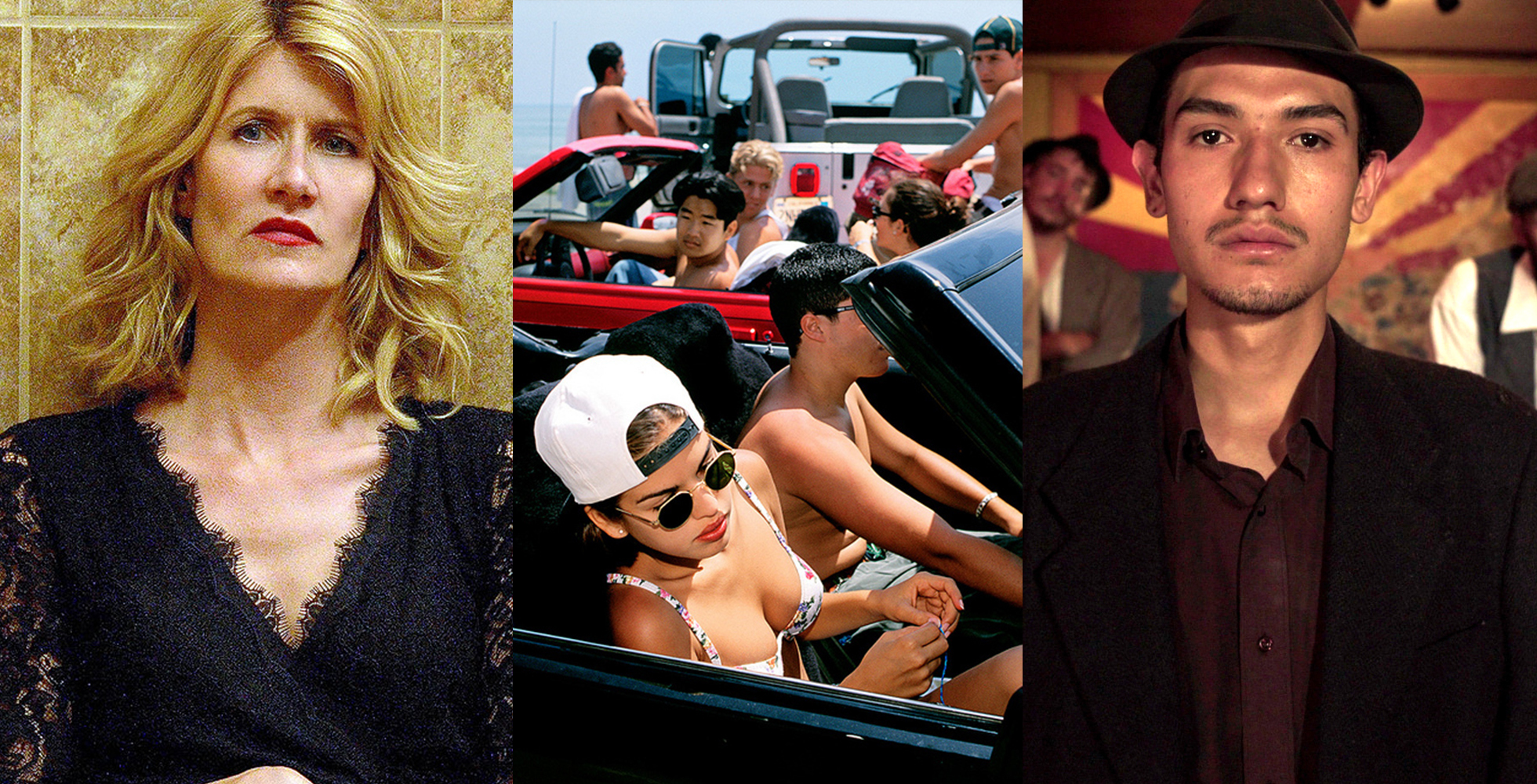 A blonde woman wearing makeup stands against a tiled brown wall. Friends cruise with their cars tops down on a hot summer day. A man wearing a hat with a thin goatee gazes into the camera while his friend, also wearing a hat, looks on from behind.