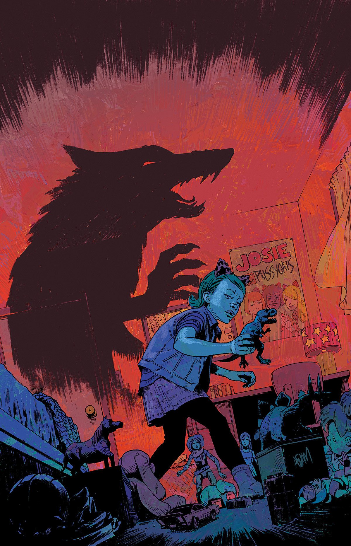 """<p """"="""""""">A comic-book style illustration of a girl playing with toys in a bedroom with a large shadow of a wolf looming behind her."""