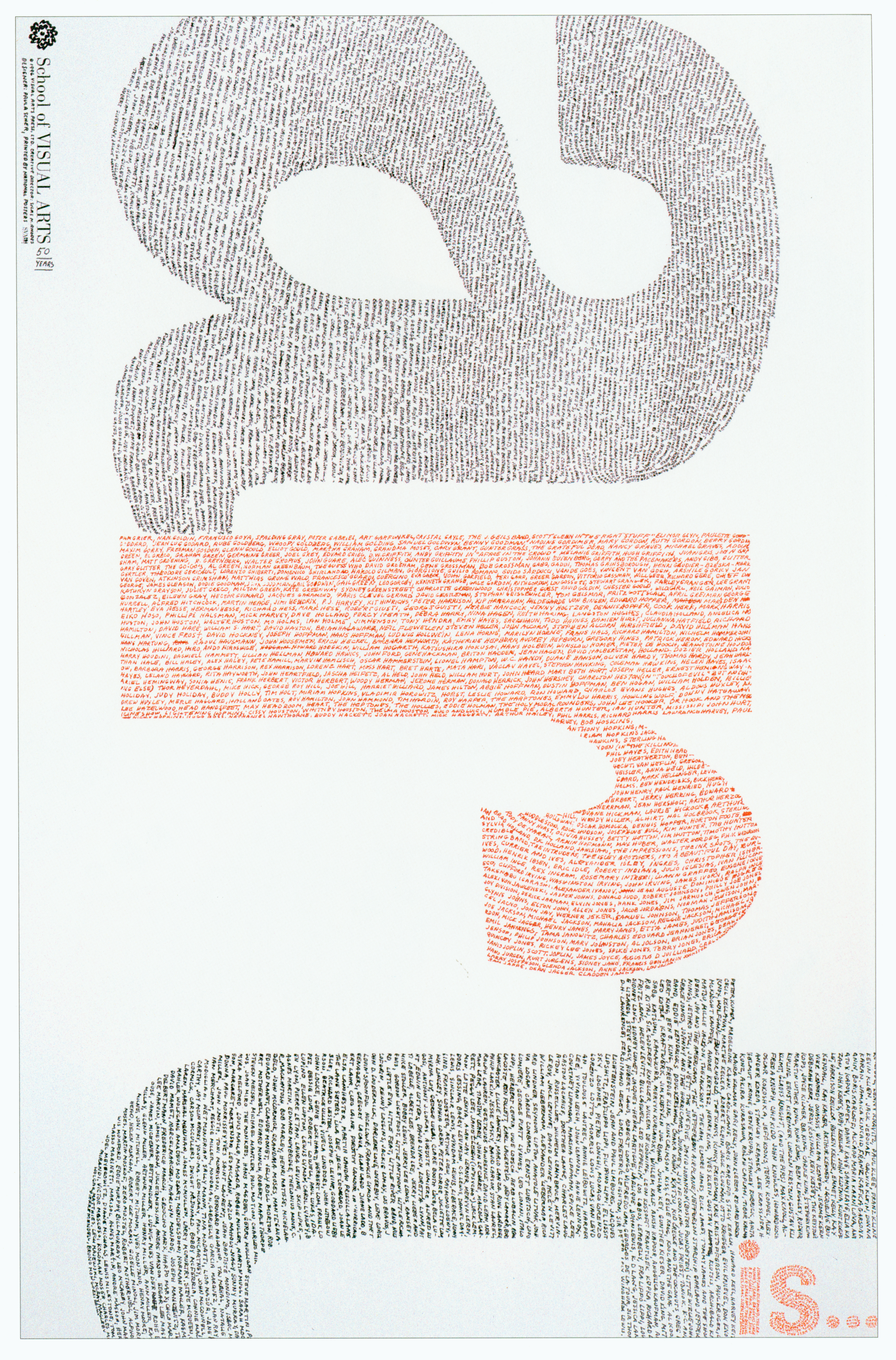 """The phrase """"Art Is..."""" the letters in the phrase are constructed with handwritten names."""